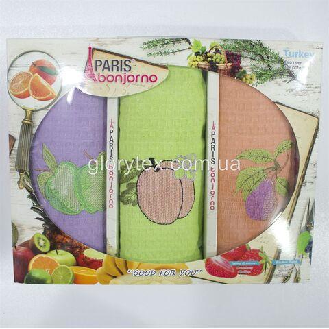 Набор кухонных вафельных полотенец 40x60 Paris bonjorno арт.2227
