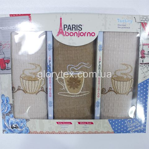 Набор кухонных вафельных полотенец 40x60 Paris bonjorno арт.2229