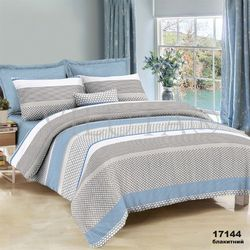 17144G Семейный комплект постельного белья Вилюта Ранфорс голубой